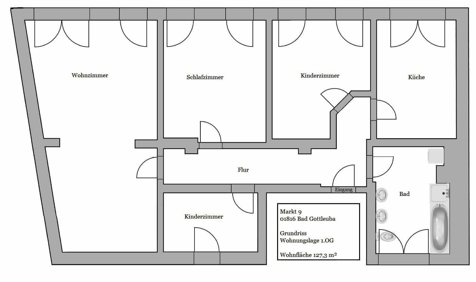lichtduchflutete 4-raum mietwohnung in bad gottleuba › maik, Badezimmer ideen